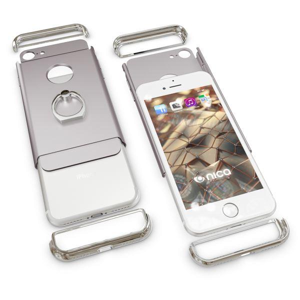 NALIA Ring Handyhülle für iPhone 7, Schutz-Hülle-Cover mit 360-Grad Fingerhalterung, Dünnes Hard-Case mit Ständer, Slim Backcover Etui matt metallisch für Apple i-Phone 7 Smartphone - Silber – Bild 5