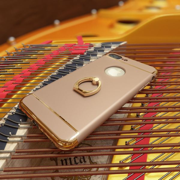 NALIA Handyhülle für iPhone 6 6S Ring, Schutz-Hülle-Cover mit 360-Grad Fingerhalterung, Dünnes Hard-Case mit Ständer, Slim Backcover Etui matt metallisch für Apple iPhone 6S 6 Smartphone - Gold – Bild 4
