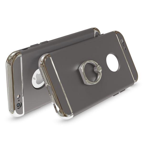 NALIA Handyhülle für iPhone 6 6S Ring, Schutz-Hülle-Cover mit 360-Grad Fingerhalterung, Dünnes Hard-Case mit Ständer, Slim Backcover Etui matt metallisch für Apple iPhone 6S 6 Smartphone - Grau – Bild 2