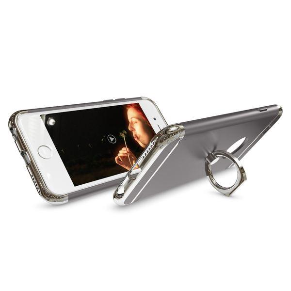 NALIA Handyhülle für iPhone 6 6S Ring, Schutz-Hülle-Cover mit 360-Grad Fingerhalterung, Dünnes Hard-Case mit Ständer, Slim Backcover Etui matt metallisch für Apple iPhone 6S 6 Smartphone - Grau – Bild 3