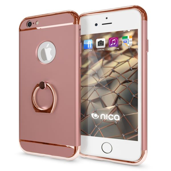 NALIA Ring Handyhülle kompatibel mit iPhone 6 6S, Schutz-Hülle Cover mit 360-Grad Fingerhalterung, Dünnes Hard-Case mit Ständer, Slim Backcover Smart-Phone Telefon-Schale Matt Metallisch - Rose Gold – Bild 1