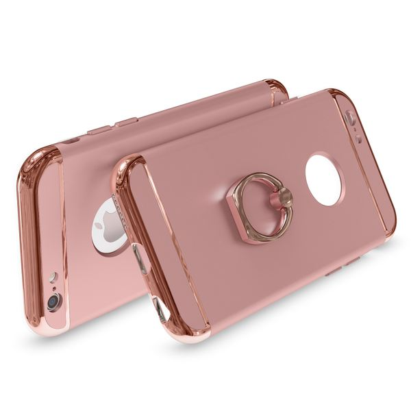 NALIA Ring Handyhülle kompatibel mit iPhone 6 6S, Schutz-Hülle Cover mit 360-Grad Fingerhalterung, Dünnes Hard-Case mit Ständer, Slim Backcover Smart-Phone Telefon-Schale Matt Metallisch - Rose Gold – Bild 2