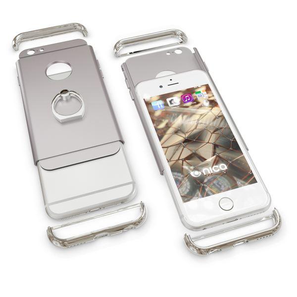 NALIA Handyhülle für iPhone 6 6S Ring, Schutz-Hülle-Cover mit 360-Grad Fingerhalterung, Dünnes Hard-Case mit Ständer, Slim Backcover Etui matt metallisch für Apple iPhone 6S 6 Smartphone - Silber – Bild 5