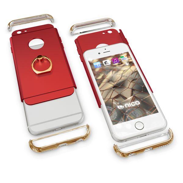 NALIA Ring Handyhülle kompatibel mit iPhone 6 6S, Schutz-Hülle Cover mit 360-Grad Fingerhalterung, Dünnes Hard-Case mit Ständer, Slim Backcover Smart-Phone Etui Telefon-Schale Matt Metallisch - Rot – Bild 5