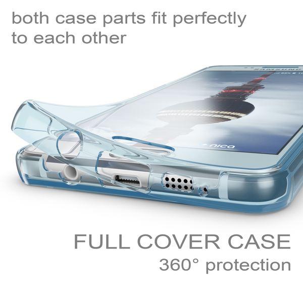NALIA 360 Grad Handyhülle kompatibel mit Samsung Galaxy A3 2016, Full Cover Vorne & Hinten Rundum Doppel-Schutz Hülle, Dünnes Ganzkörper Silikon Case, Transparenter Displayschutz & Rückseite - Blau – Bild 2