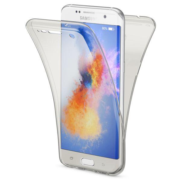 NALIA 360 Grad Handyhülle kompatibel mit Samsung Galaxy S7 Edge, Full Cover Vorne & Hinten Rundum Schutz-Hülle, Dünnes Ganzkörper Silikon Slim Case, Transparenter Displayschutz & Rückseite - Grau – Bild 1