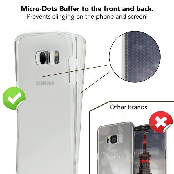 NALIA 360 Grad Handyhülle kompatibel mit Samsung Galaxy S7 Edge, Full Cover Vorne & Hinten Rundum Schutz-Hülle, Dünnes Ganzkörper Silikon Slim Case, Transparenter Displayschutz & Rückseite - Blau – Bild 3