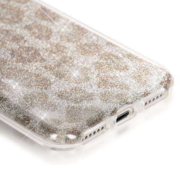 NALIA Handyhülle für iPhone 7, Glitzer Leopard Ultra-Slim Silikon-Case Back-Cover Schutz-Hülle, Glitter Leo Sparkle Handy-Tasche, Dünnes Bling Strass Phone Etui für Apple iPhone 7 - Silber Grau – Bild 3