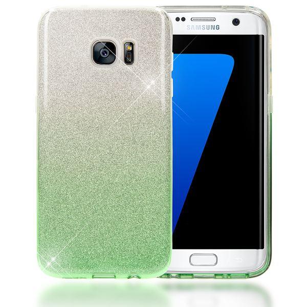NALIA Handyhülle kompatibel mit Samsung Galaxy S7 Edge, Glitzer Slim Silikon-Case Hülle Back-Cover Schutzhülle, Glitter Sparkle Handy-Tasche Bumper, Dünnes Bling Strass Phone Etui - Silber / Grün – Bild 1