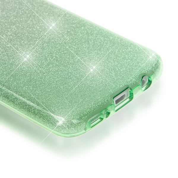 NALIA Handyhülle kompatibel mit Samsung Galaxy S7 Edge, Glitzer Slim Silikon-Case Hülle Back-Cover Schutzhülle, Glitter Sparkle Handy-Tasche Bumper, Dünnes Bling Strass Phone Etui - Silber / Grün – Bild 3