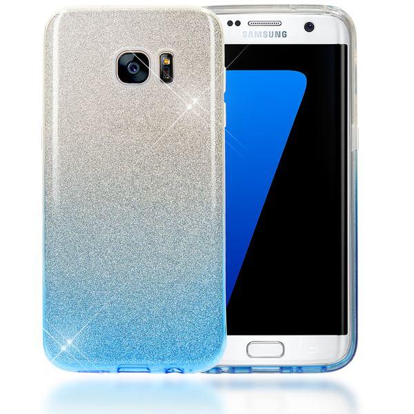 NALIA Handyhülle kompatibel mit Samsung Galaxy S7 Edge, Glitzer Slim Silikon-Case Hülle Back-Cover Schutzhülle, Glitter Sparkle Handy-Tasche Bumper, Dünnes Bling Strass Phone Etui - Silber / Blau – Bild 1