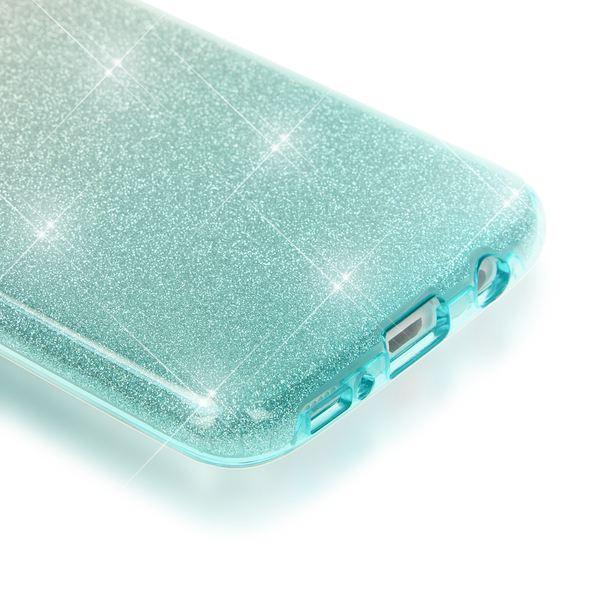 NALIA Handyhülle kompatibel mit Samsung Galaxy S7 Edge, Glitzer Slim Silikon-Case Hülle Back-Cover Schutzhülle, Glitter Sparkle Handy-Tasche Bumper, Dünnes Bling Strass Phone Etui - Silber / Türkis – Bild 2