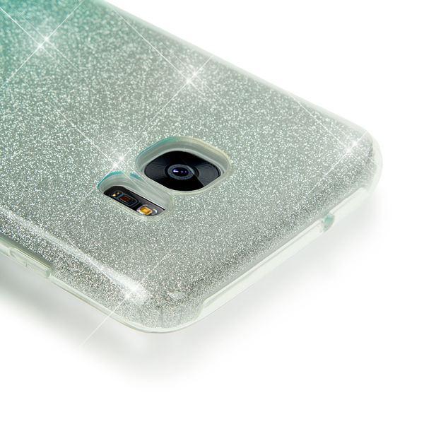 NALIA Handyhülle kompatibel mit Samsung Galaxy S7 Edge, Glitzer Slim Silikon-Case Hülle Back-Cover Schutzhülle, Glitter Sparkle Handy-Tasche Bumper, Dünnes Bling Strass Phone Etui - Silber / Türkis – Bild 3