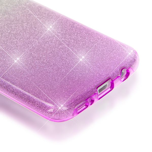 NALIA Handyhülle kompatibel mit Samsung Galaxy S7 Edge, Glitzer Slim Silikon-Case Hülle Back-Cover Schutzhülle, Glitter Sparkle Handy-Tasche Bumper, Dünnes Bling Strass Phone Etui - Silber / Lila – Bild 3