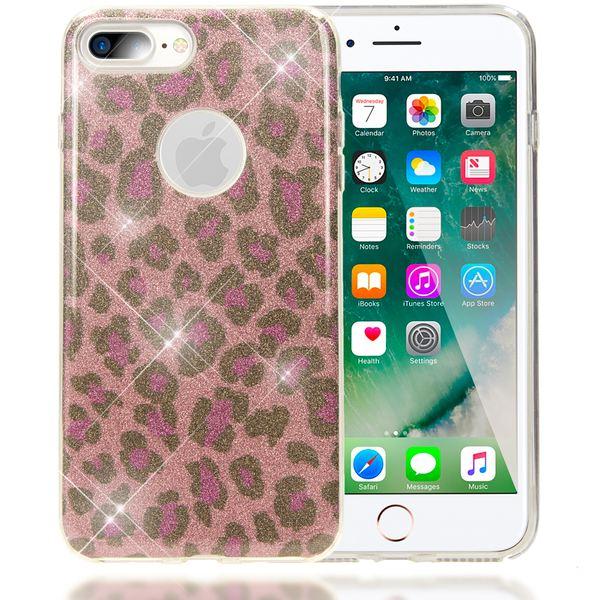 NALIA Handyhülle kompatibel mit iPhone 8 Plus / 7 Plus, Glitzer Leopard Slim Silikon-Case Back-Cover Schutz-Hülle, Glitter Leo Sparkle Handy-Tasche, Dünnes Bling Strass Smart-Phone Etui - Pink Lila – Bild 1