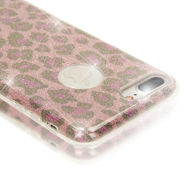 NALIA Handyhülle kompatibel mit iPhone 8 Plus / 7 Plus, Glitzer Leopard Slim Silikon-Case Back-Cover Schutz-Hülle, Glitter Leo Sparkle Handy-Tasche, Dünnes Bling Strass Smart-Phone Etui - Pink Lila – Bild 2