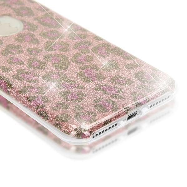 NALIA Handyhülle für iPhone 8 Plus / 7 Plus, Glitzer Leopard Slim Silikon-Case Back-Cover Schutz-Hülle, Glitter Leo Sparkle Handy-Tasche, Dünnes Bling Strass Etui für Apple iPhone 7+ / 8+ - Pink Lila – Bild 3