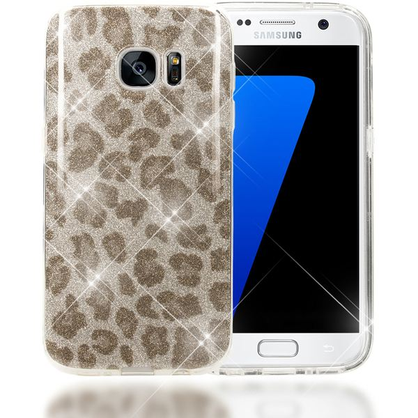 NALIA Handyhülle kompatibel mit Samsung Galaxy S7, Glitzer Leopard Slim Silikon-Case Hülle Back-Cover Schutzhülle, Glitter Leo Sparkle Handy-Tasche, Dünnes Bling Strass Smart-Phone Etui - Silber Grau – Bild 1
