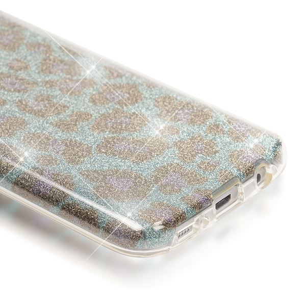 NALIA Handyhülle kompatibel mit Samsung Galaxy S7, Glitzer Leopard Slim Silikon-Case Hülle Back-Cover Schutzhülle, Glitter Leo Sparkle Handy-Tasche, Dünnes Bling Strass Smart-Phone Etui - Türkis Blau – Bild 3