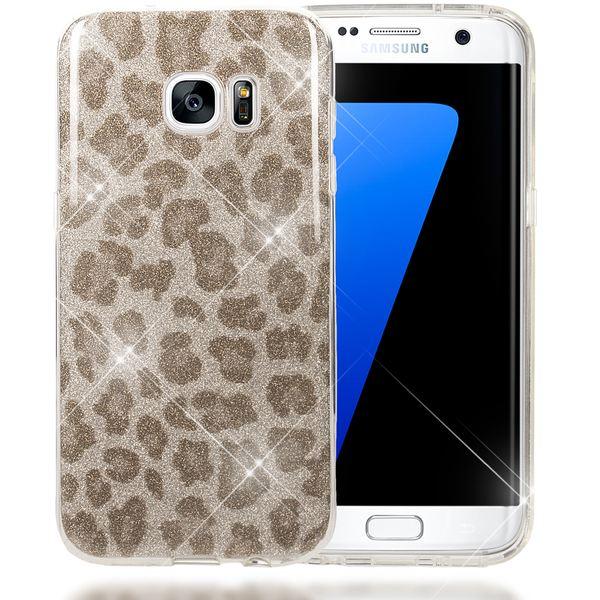NALIA Handyhülle kompatibel mit Samsung Galaxy S7 Edge, Glitzer Slim Silikon-Case Hülle Back-Cover, Dünne Glänzende Sparkle Leopard Design Glitter Bling Bumper Smart-Phone Schutzhülle - Silber Grau – Bild 1