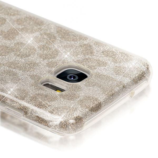 NALIA Handyhülle kompatibel mit Samsung Galaxy S7 Edge, Glitzer Slim Silikon-Case Hülle Back-Cover, Dünne Glänzende Sparkle Leopard Design Glitter Bling Bumper Smart-Phone Schutzhülle - Silber Grau – Bild 2