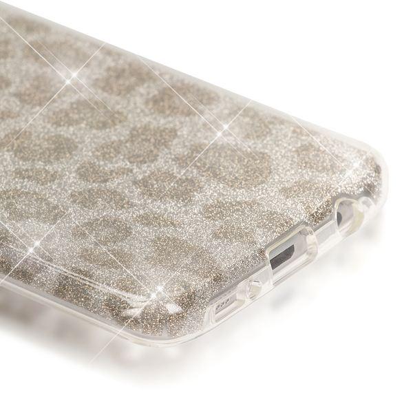 NALIA Handyhülle kompatibel mit Samsung Galaxy S7 Edge, Glitzer Slim Silikon-Case Hülle Back-Cover, Dünne Glänzende Sparkle Leopard Design Glitter Bling Bumper Smart-Phone Schutzhülle - Silber Grau – Bild 3