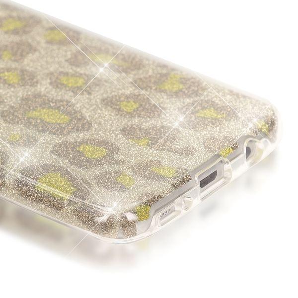 NALIA Handyhülle kompatibel mit Samsung Galaxy S7 Edge, Glitzer Slim Silikon-Case Hülle Back-Cover, Dünne Glänzende Sparkle Leopard Design Glitter Bling Bumper Smart-Phone Schutzhülle - Silber Grün – Bild 3