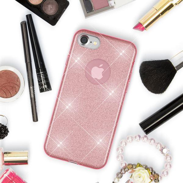 NALIA Handyhülle für iPhone 7, Glitzer Ultra-Slim Silikon-Case Back-Cover Schutz-Hülle, Glitter Sparkle Handy-Tasche Bumper, Dünnes Bling Strass Phone Etui für Apple i-Phone 7 - Rosa Pink – Bild 5