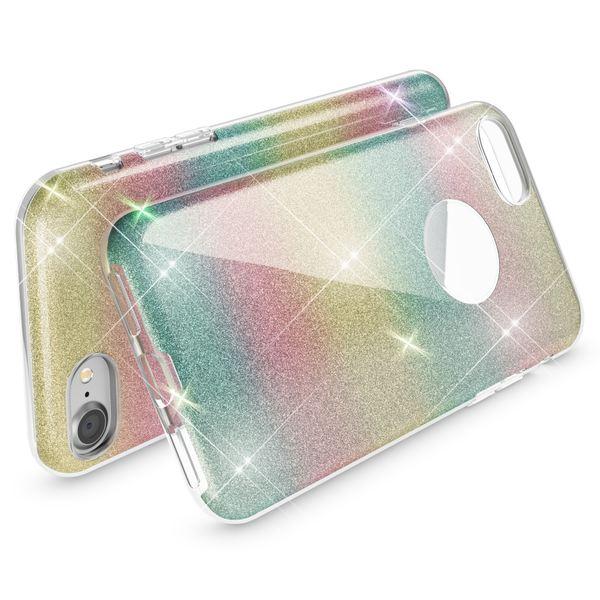 NALIA Handyhülle für iPhone 7, Glitzer Ultra-Slim Silikon-Case Back-Cover Schutz-Hülle, Glitter Sparkle Handy-Tasche Bumper, Dünnes Bling Strass Phone Etui für Apple i-Phone 7 - Regenbogen – Bild 2