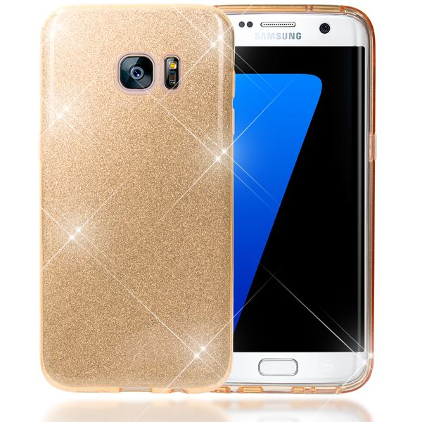 NALIA Handyhülle kompatibel mit Samsung Galaxy S7 Edge, Glitzer Slim Silikon-Case Hülle Back-Cover Schutzhülle, Glitter Sparkle Handy-Tasche Schale Bumper, Dünnes Bling Strass Smart-Phone Etui - Gold – Bild 1