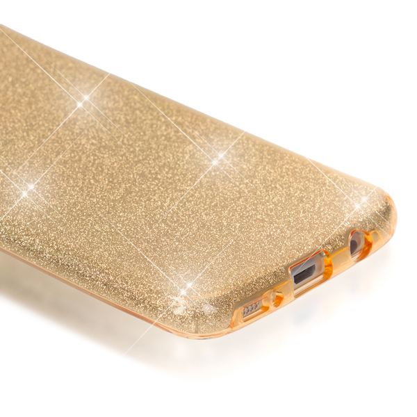 NALIA Handyhülle kompatibel mit Samsung Galaxy S7 Edge, Glitzer Slim Silikon-Case Hülle Back-Cover Schutzhülle, Glitter Sparkle Handy-Tasche Schale Bumper, Dünnes Bling Strass Smart-Phone Etui - Gold – Bild 3