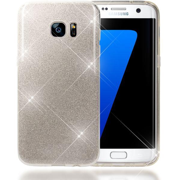 NALIA Handyhülle kompatibel mit Samsung Galaxy S7 Edge, Glitzer Slim Silikon-Case Hülle Back-Cover Schutzhülle, Glitter Sparkle Handy-Tasche Bumper, Dünnes Bling Strass Smart-Phone Etui - Silber – Bild 1
