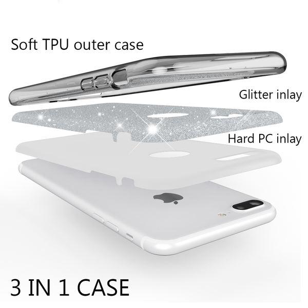 NALIA Handyhülle kompatibel mit iPhone 7 Plus, Glitzer Ultra-Slim Silikon-Case Back-Cover Schale Schutz-Hülle, Glitter Sparkle Handy-Tasche Bumper, Dünnes Bling Strass Edel Smart-Phone Etui - Grau – Bild 3