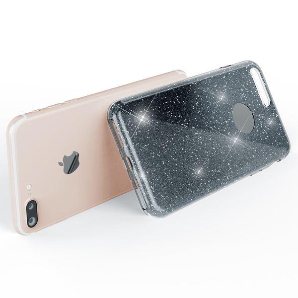NALIA Handyhülle kompatibel mit iPhone 7 Plus, Glitzer Ultra-Slim Silikon-Case Back-Cover Schale Schutz-Hülle, Glitter Sparkle Handy-Tasche Bumper, Dünnes Bling Strass Edel Smart-Phone Etui - Grau – Bild 6