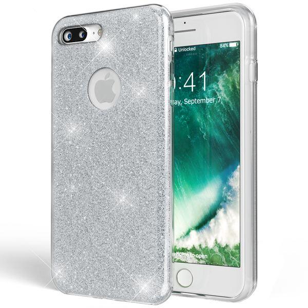 NALIA Handyhülle kompatibel mit iPhone 7 Plus, Glitzer Ultra-Slim Silikon-Case Back-Cover Schale Schutz-Hülle, Glitter Sparkle Handy-Tasche Bumper, Dünnes Bling Strass Edel Smart-Phone Etui - Silber – Bild 1