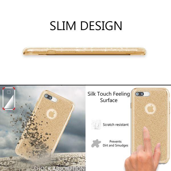 NALIA Handyhülle kompatibel mit iPhone 7 Plus, Glitzer Ultra-Slim Silikon-Case Back-Cover Schale Schutz-Hülle, Glitter Sparkle Handy-Tasche Bumper, Dünnes Bling Strass Edel Smart-Phone Etui - Silber – Bild 5