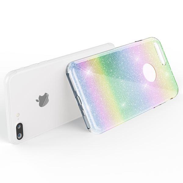NALIA Handyhülle kompatibel mit iPhone 7 Plus, Glitzer Ultra-Slim Silikon-Case Back-Cover Schutz-Hülle, Glitter Sparkle Handy-Tasche Bumper, Dünnes Bling Strass Edel Smart-Phone Etui - Regenbogen – Bild 6