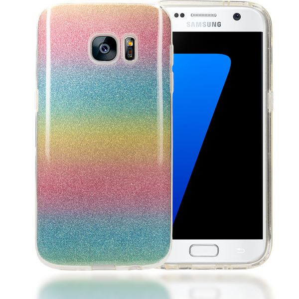 NALIA Handyhülle kompatibel mit Samsung Galaxy S7, Glitzer Ultra-Slim Silikon-Case Back-Cover Schutzhülle Glitter Sparkle Handy-Tasche Schale Bumper, Dünnes Bling Strass Smart-Phone Etui - Regenbogen – Bild 1