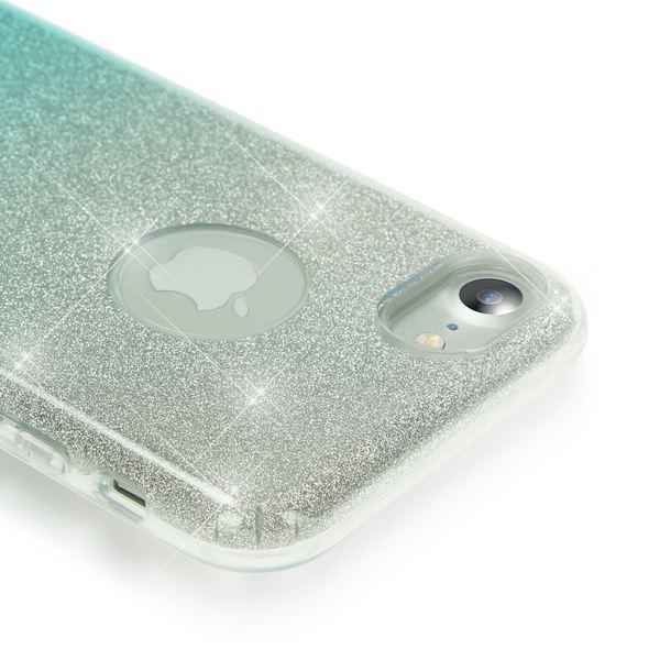 NALIA Handyhülle für iPhone 7, Glitzer Ultra-Slim Silikon-Case Back-Cover Schutz-Hülle, Glitter Farbverlauf Sparkle Handy-Tasche, Dünnes Bling Strass Etui für Apple iP-7 - Silber / Türkis – Bild 2