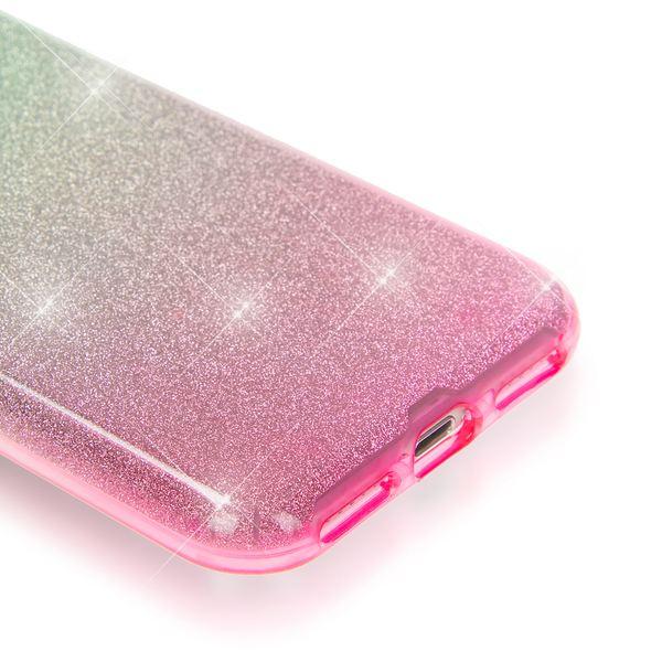 NALIA Handyhülle kompatibel mit iPhone 7, Glitzer Ultra-Slim Silikon-Case Back-Cover Schutz-Hülle, Glitter Farbverlauf Sparkle Handy-Tasche, Dünnes Bling Strass Smart-Phone Thin Etui - Silber / Pink – Bild 3