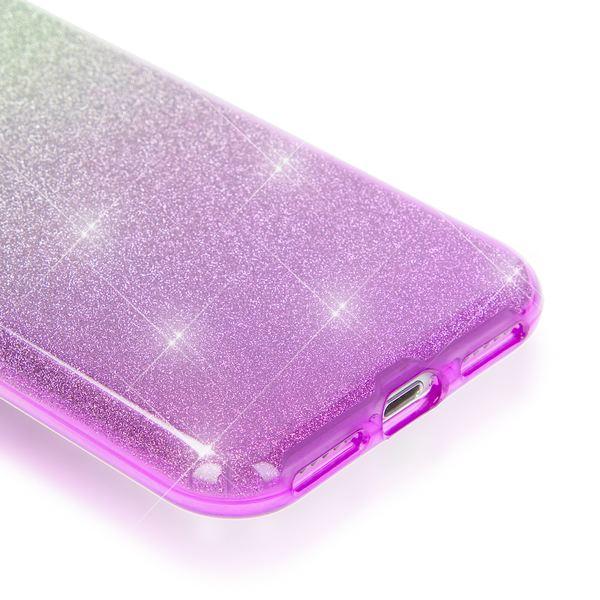 NALIA Handyhülle für iPhone 7, Glitzer Ultra-Slim Silikon-Case Back-Cover Schutz-Hülle, Glitter Farbverlauf Sparkle Handy-Tasche, Dünnes Bling Strass Etui für Apple iP-7 - Silber / Lila – Bild 3