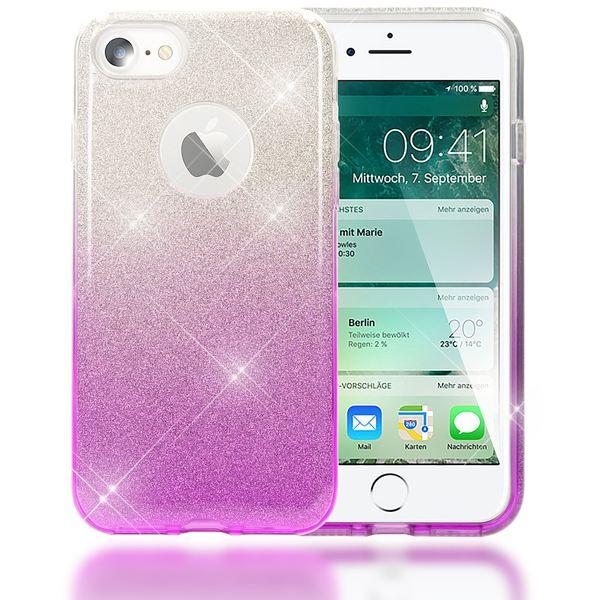 NALIA Handyhülle für iPhone 7, Glitzer Ultra-Slim Silikon-Case Back-Cover Schutz-Hülle, Glitter Farbverlauf Sparkle Handy-Tasche, Dünnes Bling Strass Etui für Apple iP-7 - Silber / Lila – Bild 1