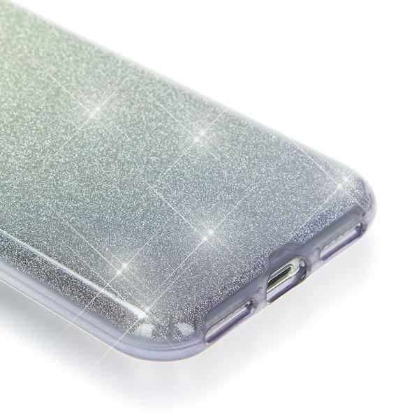 NALIA Handyhülle für iPhone 7, Glitzer Ultra-Slim Silikon-Case Back-Cover Schutz-Hülle, Glitter Farbverlauf Sparkle Handy-Tasche, Dünnes Bling Strass Etui für Apple iP-7 - Silber / Grau – Bild 3