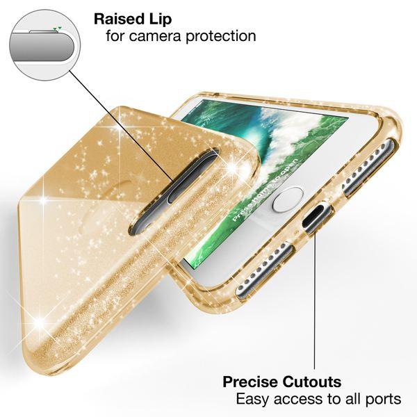 NALIA Handyhülle kompatibel mit iPhone 7 Plus, Glitzer Ultra-Slim Silikon-Case Back-Cover Schutz-Hülle, Glitter Sparkle Handy-Tasche Schale Bumper, Dünnes Bling Strass Edel Smart-Phone Etui - Gold – Bild 2