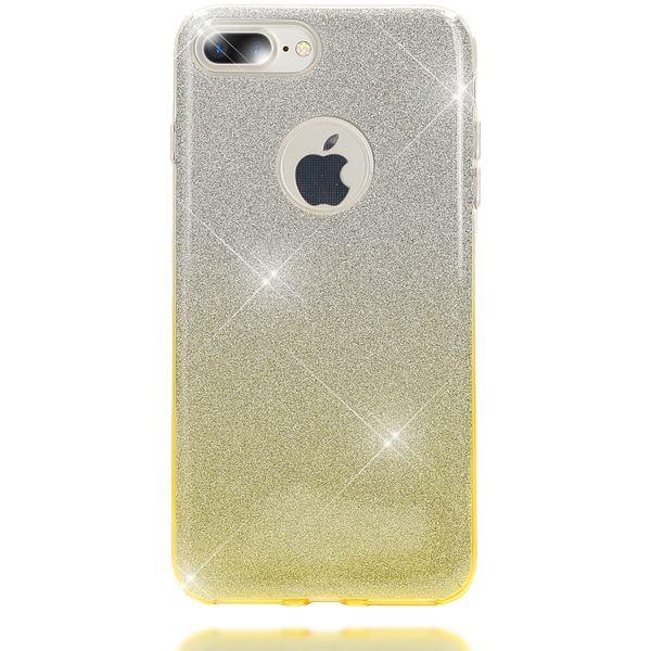 NALIA Handyhülle kompatibel mit iPhone 8 Plus / 7 Plus, Glitzer Ultra-Slim Silikon-Case Back-Cover Schutz-Hülle, Glitter Sparkle Handytasche, Dünnes Bling Strass Smart-Phone Thin Etui - Silber / Gelb – Bild 5
