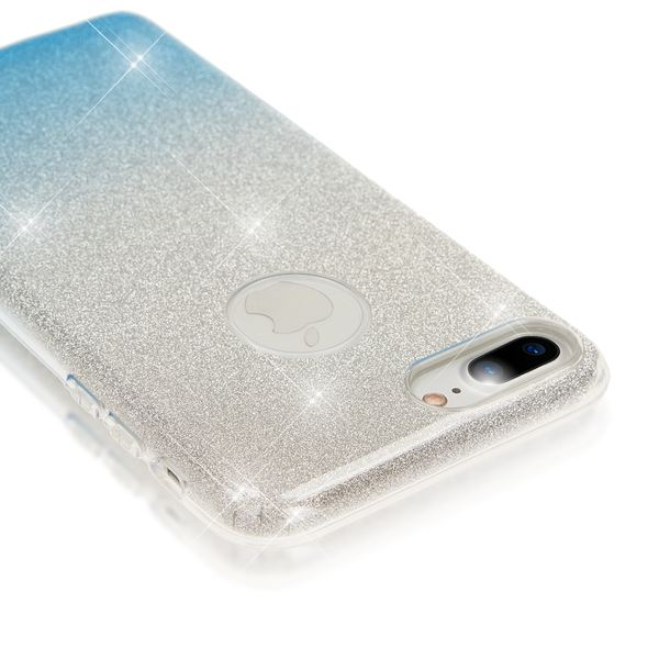 NALIA Handyhülle kompatibel mit iPhone 8 Plus / 7 Plus, Glitzer Ultra-Slim Silikon-Case Back-Cover Schutz-Hülle, Glitter Sparkle Handytasche, Dünnes Bling Strass Smart-Phone Thin Etui - Silber / Blau – Bild 4
