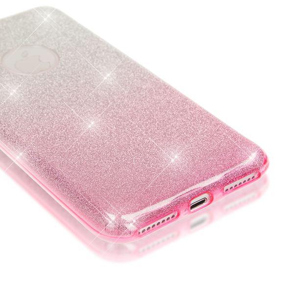 NALIA Handyhülle kompatibel mit iPhone 8 Plus / 7 Plus, Glitzer Ultra-Slim Silikon-Case Back-Cover Schutz-Hülle, Glitter Sparkle Handytasche, Dünnes Bling Strass Smart-Phone Etui - Silber / Pink – Bild 2