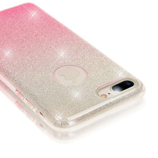 NALIA Handyhülle kompatibel mit iPhone 8 Plus / 7 Plus, Glitzer Ultra-Slim Silikon-Case Back-Cover Schutz-Hülle, Glitter Sparkle Handytasche, Dünnes Bling Strass Smart-Phone Etui - Silber / Pink – Bild 4