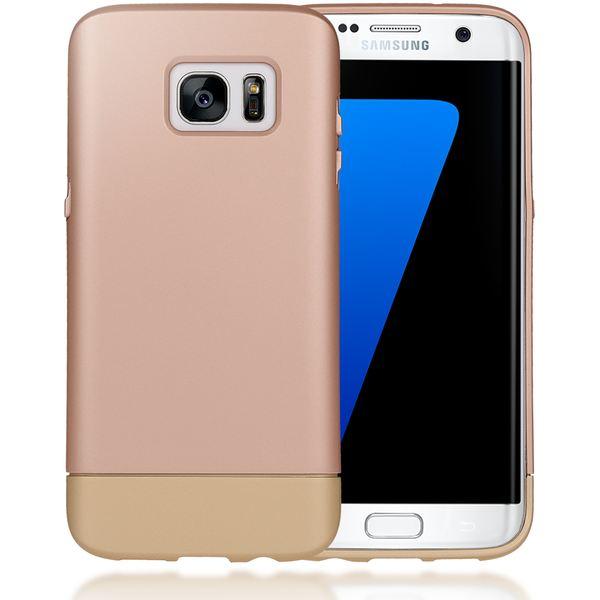 NALIA Handyhülle kompatibel mit Samsung Galaxy S7 Edge, stoßfeste Schutz-Hülle Case, Dünnes Slider Hardcase Handy-Tasche, zwei-teiliges Slim Back-Cover Schale Smart-Phone Etui Matt Bumper - Rose Gold – Bild 1