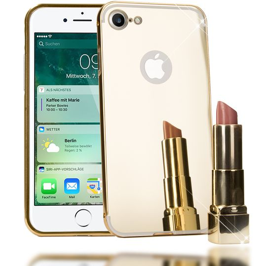 iPhone 7 Spiegel Hülle Handyhülle von NICA, Ultra-Slim Mirror Case Cover Hardcase, Dünne Schutzhülle Backcover verspiegelt, Handy-Tasche Bumper Phone Etui für Apple iPhone-7 Phone - Gold – Bild 1